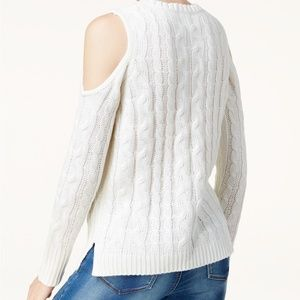 Hippie Rose Cold-Shoulder Cable-Knit Sweater, M